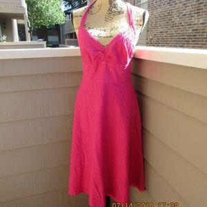 J. Crew hot pink seersucker halter dress Sz 4 1350